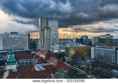 Panorama Of Berlin Near Zoo With Dramatic Sky