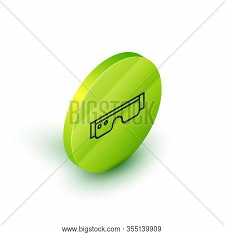 Isometric Line Smart Glasses Mounted On Spectacles Icon Isolated On White Background. Wearable Elect