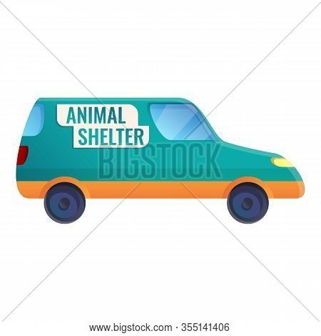 Animal Shelter Car Icon. Cartoon Of Animal Shelter Car Vector Icon For Web Design Isolated On White