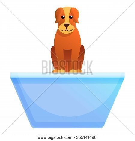 Dog On Shelter Table Icon. Cartoon Of Dog On Shelter Table Vector Icon For Web Design Isolated On Wh