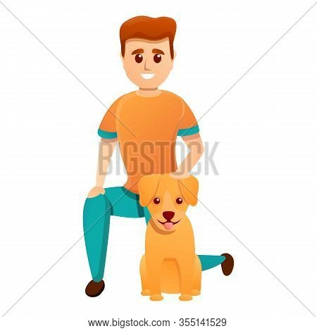 Boy Adopt Puppy Dog Icon. Cartoon Of Boy Adopt Puppy Dog Vector Icon For Web Design Isolated On Whit