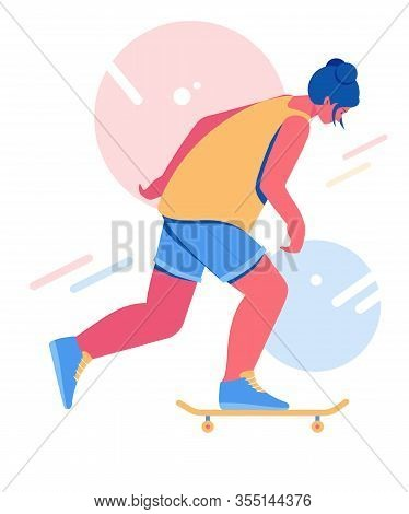 Skateboarding Teenager. Girl Riding On A Skateboard.