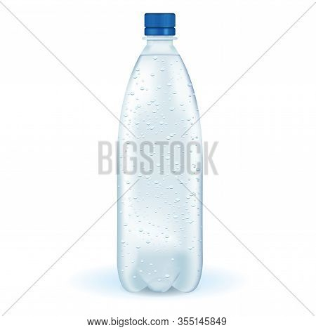 Plastic Bottle Of Water. Vector 3d Illustration Isolated On White Background