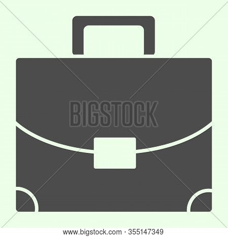 Briefcase Solid Icon. Student Personal Case Glyph Style Pictogram On White Background. Handle Diplom