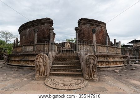 Hatadage Is An Ancient Relic Shrine In The City Of Polonnaruwa, Sri Lanka. It Was Built By King Niss