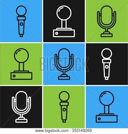 Set Line Joystick For Arcade Machine, Microphone And Joystick For Arcade Machine Icon. Vector