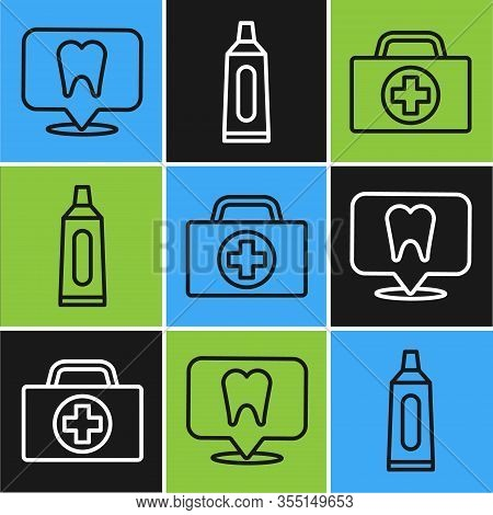 Set Line Dental Clinic Location, First Aid Kit And Tube Of Toothpaste Icon. Vector