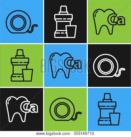 Set Line Dental Floss, Calcium For Tooth And Mouthwash Plastic Bottle Icon. Vector