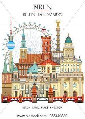 Colorful Vector Illustration Of Main Berlin Landmarks Front View, Famous Attractions Of Berlin, Germ