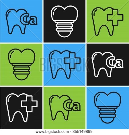 Set Line Calcium For Tooth, Dental Clinic For Dental Care Tooth And Dental Implant Icon. Vector