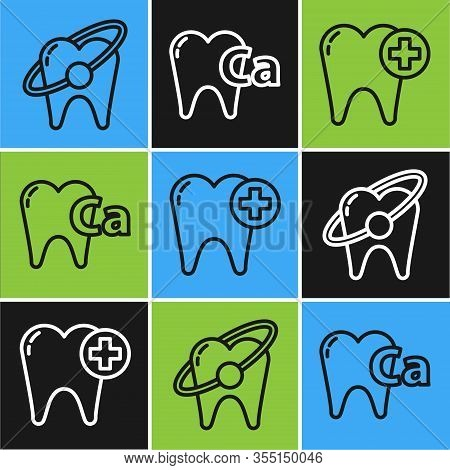 Set Line Tooth Whitening Concept, Tooth And Calcium For Tooth Icon. Vector