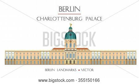 Colorful Vector Charlottenburg Palace Front View, Famous Landmark Of Berlin, Germany. Vector Horizon