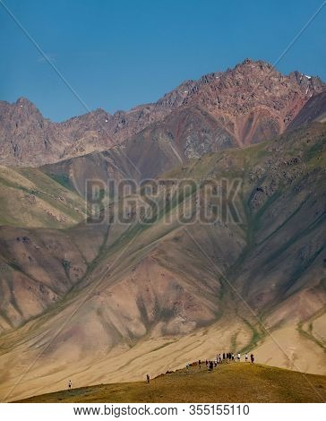 Sary-tash, Kyrgyzstan. August 13, 2019. Tourists Traveling Along The Pamir Highway Admire The Views