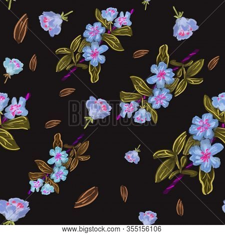 Seamless Pattern With Watercolor Blue Apple Flowers On Black Background. Hand Drawing. Summer/spring