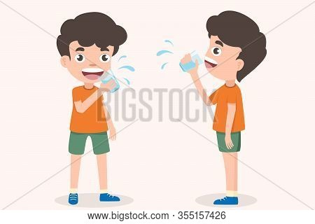 Cute Boy Holding Glass Of Kid Drinking Water. Smiling Standing Boy Kids Enjoying Drinking Water Hold