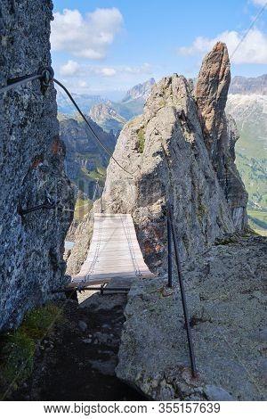Wooden Bridge On Via Ferrata Delle Trincee (meaning Way Of The Trenches), Padon Ridge, Dolomites Mou