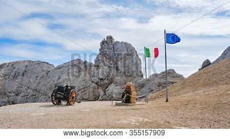Marmolada, Italy - August 28, 2019: World War I Memorial Site With Italian And European Flags Near A