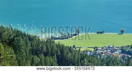 Lake Achen (achensee), Austria, In The Summer - View From An Elevated Viewpoint.