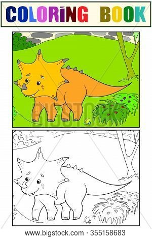 Triceratops Dinosaur In Nature. Children Coloring Book Set Color And Black And White. Vector