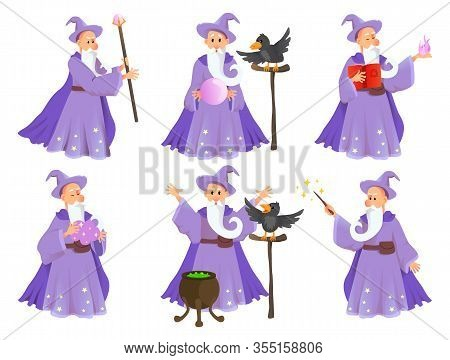Magician In Robe Spelling Vector Cartoon Characters. Wizard With Hat Of Fairytale Character In Vario