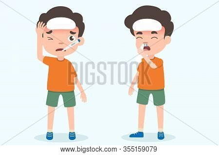 Cute Boy Kids Having Flu And Fever Symptoms Vector. Health And Medical Vector Illustration On Isolat