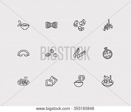 Traditional Meal Icons Set. Ravioli Pasta Shape And Traditional Meal Icons With Fiocchi Rigatte Past