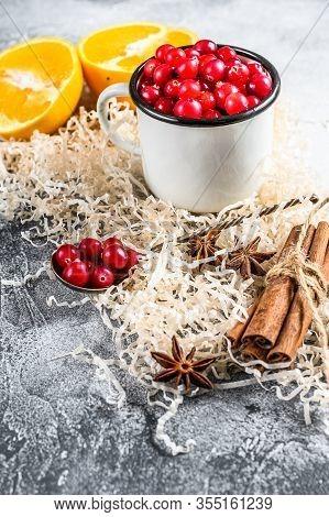 Ingredients For Winter Baking Cookies. Gingerbread, Fruitcake, Drinks. Cranberries, Oranges, Cinnamo