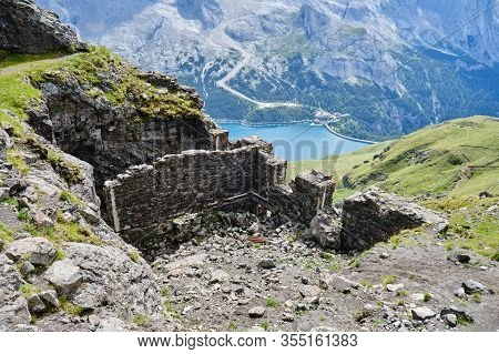 Historic World-war I Fortifications On Via Ferrata Delle Trincee (meaning Way Of The Trenches), With