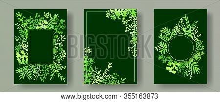 Watercolor Herb Twigs, Tree Branches, Flowers Floral Invitation Cards Collection. Bouquet Wreath Rom