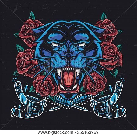 Ferocious Black Panther Head With Roses And Crossed Tattoo Machines In Vintage Style Isolated Vector