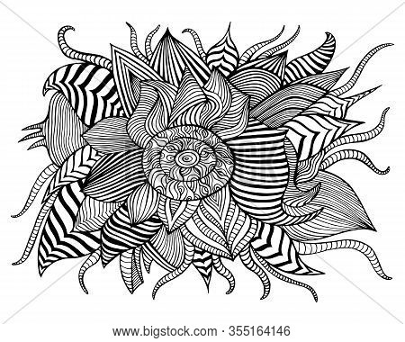 Surreal Fantastic Abstract Flower With Many Patterns Coloring Page, Isolated On White Background