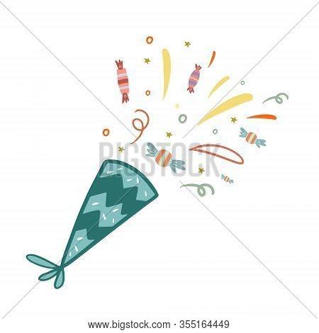 Fireworks. Vector Color Illustration In Doodle Style. Celebratory Fireworks. Candy Fireworks. Freeha
