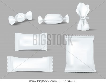 Realistic Mockups Of Candy Wrappers On Grey Background. Sweet, Biscuit, Wafer, Cracker, And Chocolat