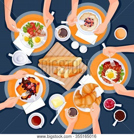 People Have Breakfast. Top View Flat Cartoon Illustration Of Brunch Meal. Eggs, Coffee, Waffles, Oat
