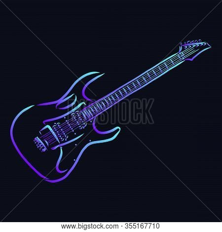 Guitar Vector Sketch Icon Isolated On Background. Hand Drawn Guitar Icon. Guitar Sketch Icon For Inf