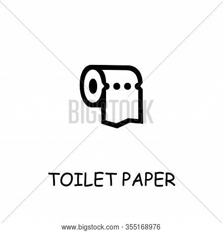 Toilet Paper Flat Vector Icon. Hand Drawn Style Design Illustrations.