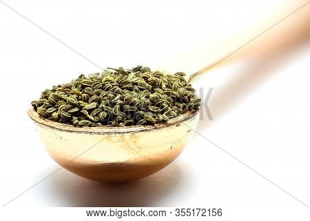 Celery Seed Isolated Spoon With Celery Seed.