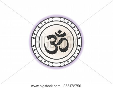 Aum Om Symbol. Vector Illustration, Flat Design.