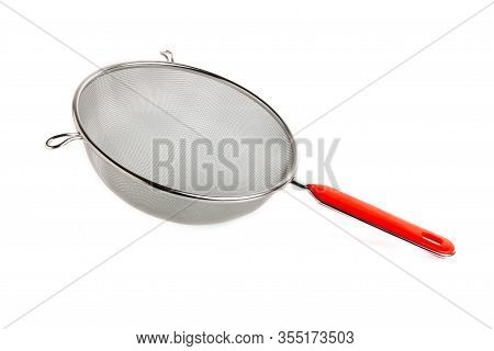 Handle Mettal Colander Isolaten On A White Background