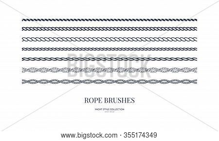 Nautical Rope Brushes Set. Seamless Pattern. Yacht Style Design. Vintage Decorative Elements. Templa