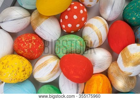 Happy Easter Card. Colorful Shiny Eggs Background. Copy Space For Text.