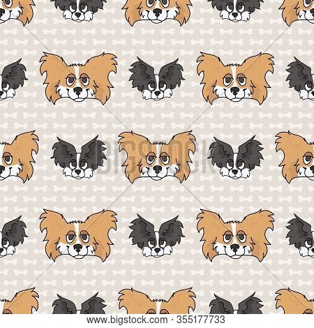 Hand Drawn Cute Papillon Breed Dog And Puppy Face Seamless Vector Pattern. Purebred Pedigree Puppy D