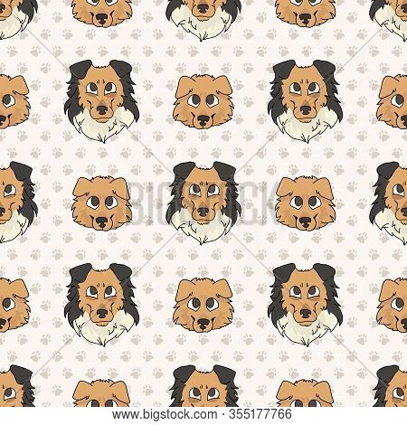 Hand Drawn Cute Rough Collie Puppy And Dog Face Seamless Vector Pattern. Purebred Pedigree Puppy Dom