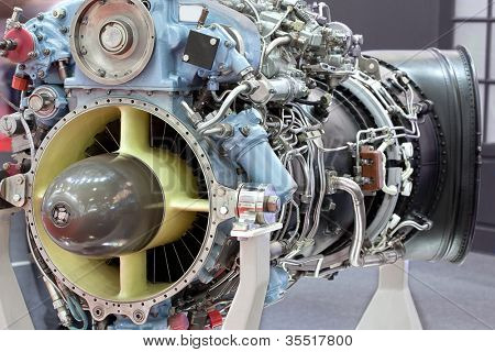 Motor of helicopter with turbine on exhibition