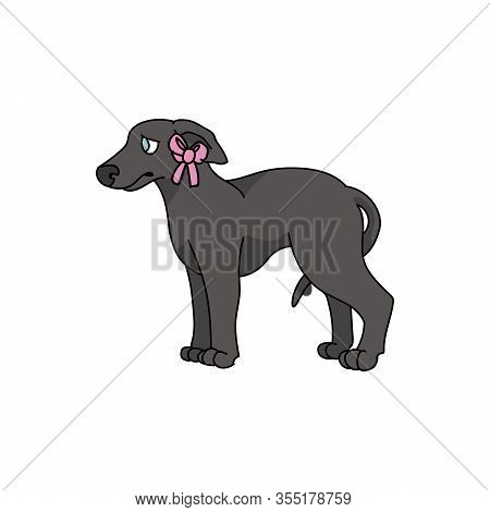 Cute Cartoon Greyhound Puppy With Pink Bow Vector Clipart. Pedigree Kennel Racing Hound For Dog Love