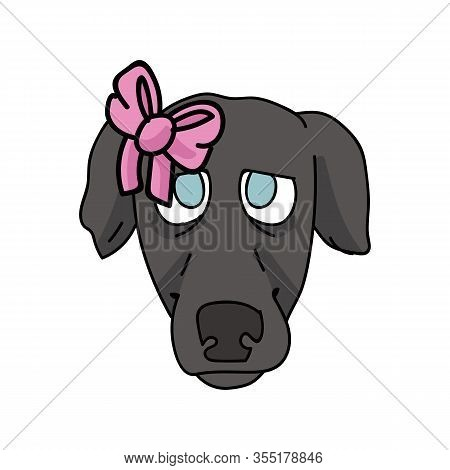 Cute Cartoon Greyhound Puppy With Pink Bow Face Vector Clipart. Pedigree Kennel Racing Hound For Dog