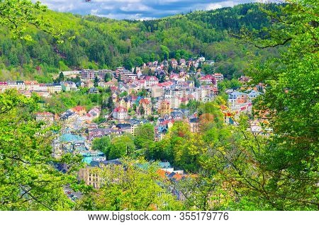 Top Aerial Panoramic View Of Karlovy Vary (carlsbad) Spa Town With Colorful Beautiful Buildings, Tep