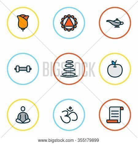 Relax Icons Colored Line Set With Spa Stones, Manuscript, Meditation And Other Yoga Elements. Isolat