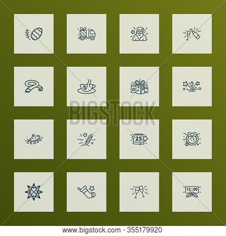 Holiday Icons Line Style Set With Stemware, Fireworks, Christmas Stocking And Other Pinecone Element