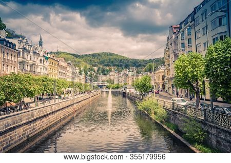 Karlovy Vary (carlsbad) Historical City Centre With Tepla River Central Embankment, Colorful Beautif
